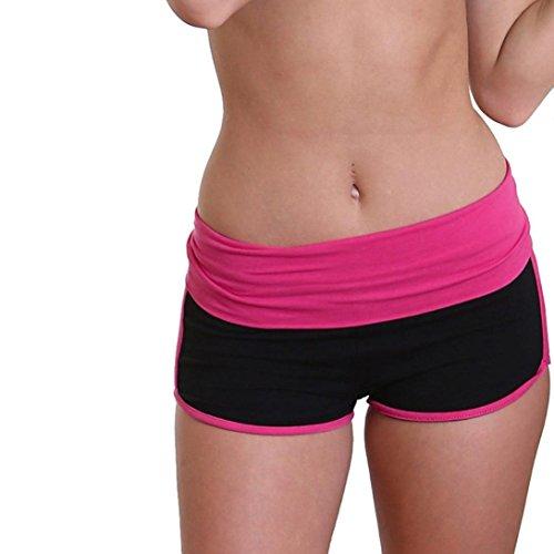 (Women Short Yoga Pants Daoroka Waist Band Color Block Fold Over Flex Tummy Control Gym Workout Athletic Sport Running Short Pants Trouser (M, Hot Pink))