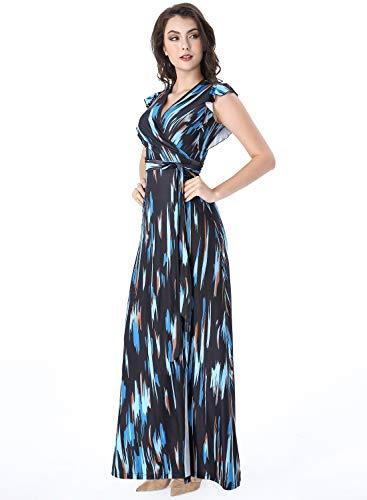 VFSHOW Womens Summer Multicolor Geometric Print Ruffle Sleeve V Neck Pockets Split Casual Beach Party Wrap Maxi Dress G3117 BLU L