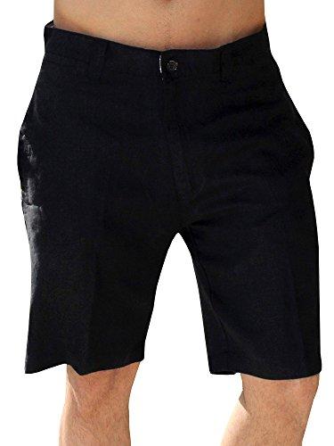 Mens Linen Golf Shorts Summer Casual Bermuda Board Classic Fit Short Work Pants 1 Black Large