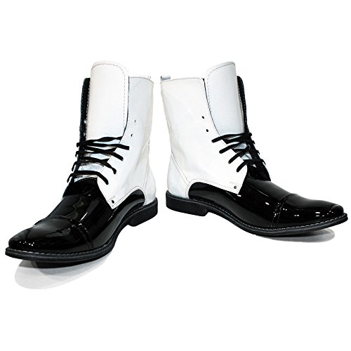 PeppeShoes Modello Stunterro  13 US  Handmade Italian Mens Color White High Boots  Cowhide Patent Leather  LaceUp