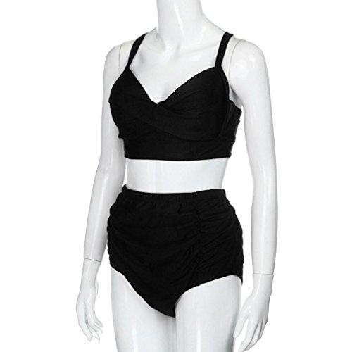 Tongshi Trajes De Baño De Cintura Alta Mujeres MáS Tamaño De Baño De ImpresióN Flor Beach Bikini Conjunto Negro