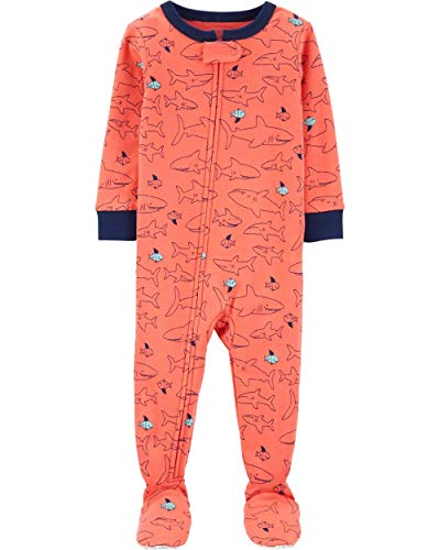 - Carter's Boys' 1-Piece Footed Pajamas (18 Months, Orange/Shark)