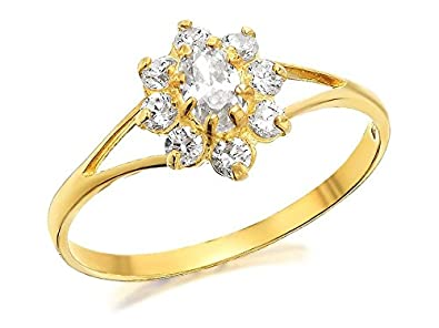 eaafae208 F.Hinds Womens Ladies 9ct Yellow Gold Cubic Zirconia Cluster Ring Jewellery  - I: Amazon.co.uk: Jewellery