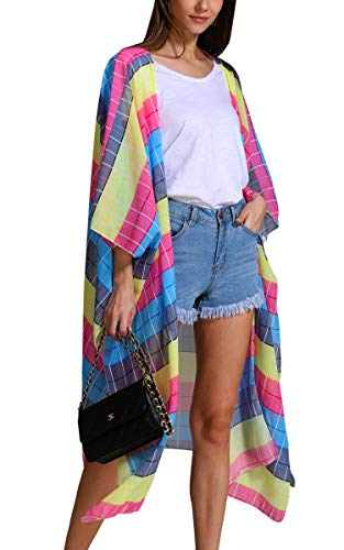 Hibluco Women's Sheer Chiffon Floral Kimono Cardigan Long Blouse Loose Tops -