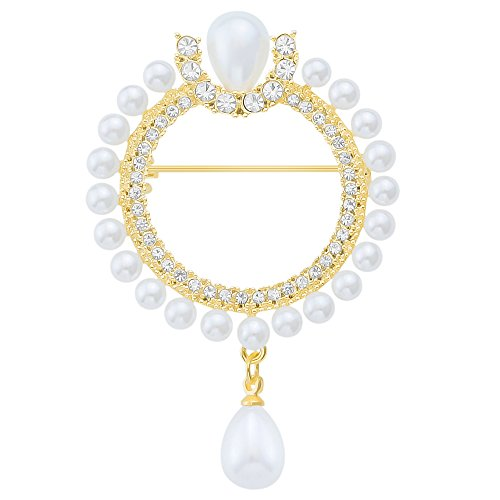 - LY8 Fashion Jewelry Simulated Pearl Crystal Circle Wreath Brooch Pin for Women Girls Gold Tone