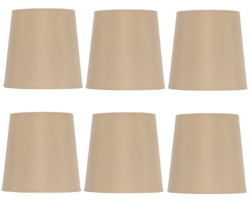 Upgradelights 5 Inch English Barrel Chandelier Lamp Shades in Antique Gold Silk (Set of 6) 4x5x5