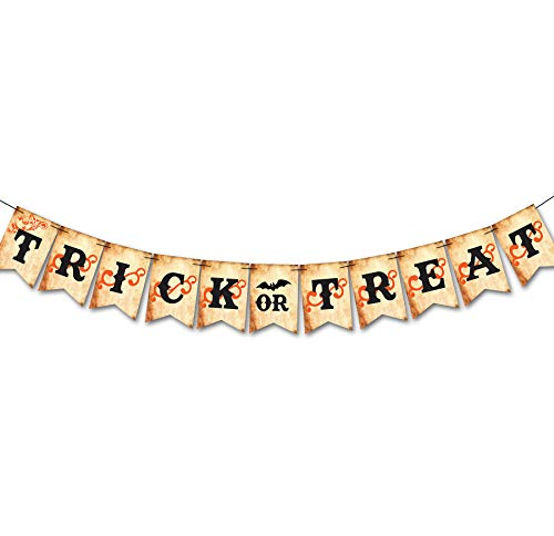 Halloween Party Supplies Trick or Treat Decoration Banner Garland with Greeting Pumpkin Bat Banner for Halloween Decor ()