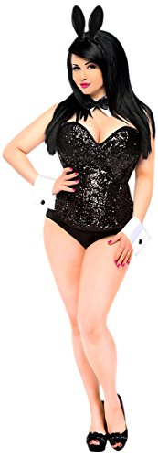 Daisy Corsets Women's Top Drawer 4 Piece Sequin Cocktail Bunny Costume, Black, Medium - Sexy Cocktail Bunny Costumes