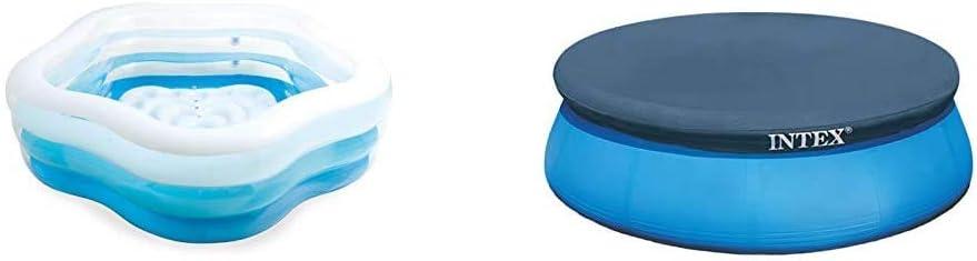 Intex 56495NP - Piscina Hinchable Transparente 185 x 180 x 53 cm, 460 litros + 28020 - Cobertor Piscina Hinchable Easy Set 244 cm