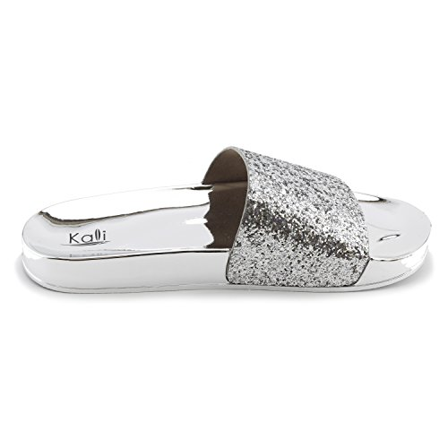 Kali Wide Slide Silver Womens Band Glitter Adults On Slip Sandals Single AAxFRUqwr