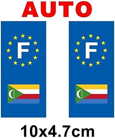 Adhesivo decorativo, diseño de placa de matrícula con bandera de las Comoras: Amazon.es: Hogar