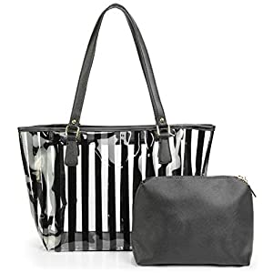2 in 1 Semi Clear Purse Beach Tote Bags Large Work Shoulder Bag with Interior Pouch