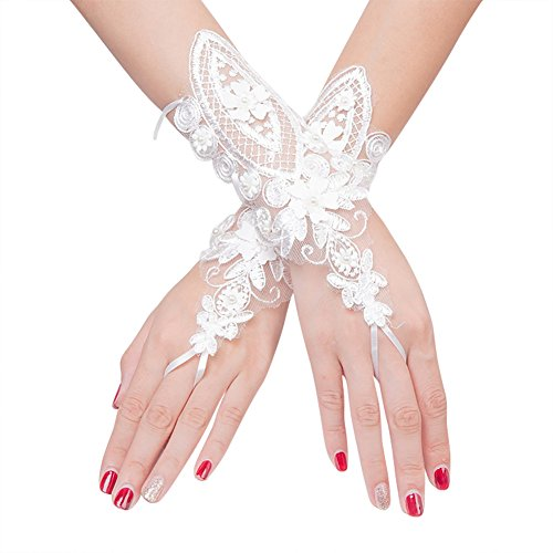 Flower Girl Gloves Fingerless Pearl Beaded Lace Bridal Gloves for Formal Wedding Prom Party ()