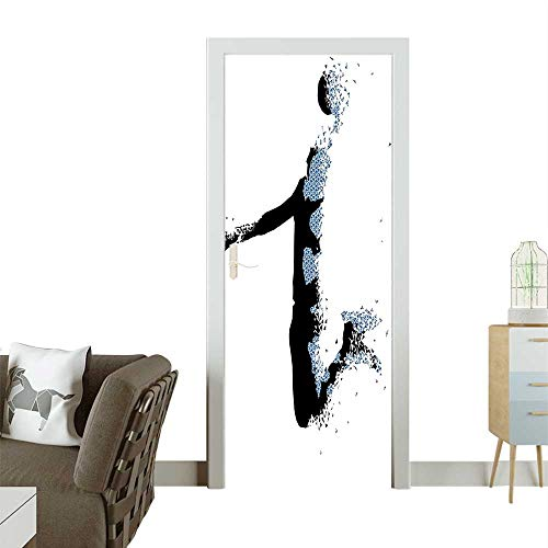 (Homesonne 3D Photo Door Murals Stylized Basketball Player in Fractal istic Black Light Blue Easy to Clean and applyW23 x H70 INCH)