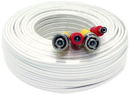 100 Feet Pre-made All-in-One BNC Video and Power Extension Cable with Connector for CCTV Security Camera (White, 100 feet)