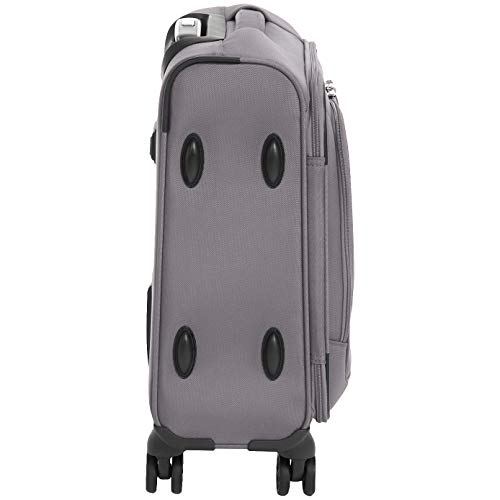AmazonBasics Premium Expandable Softside Spinner Luggage With TSA Lock - 18-Inch International Carry-On, Grey