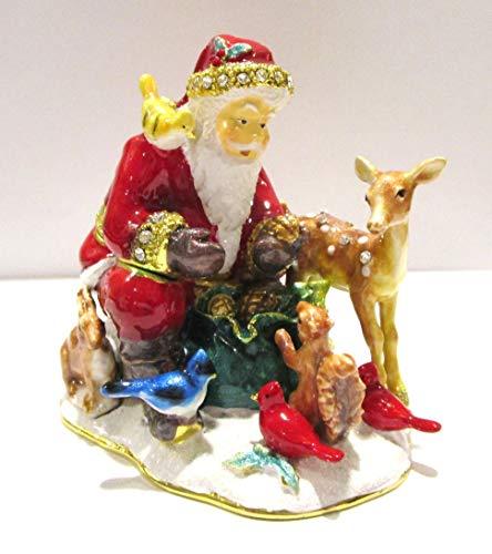 Kubla Santa Claus w Woodland Animals Jeweled Hinged Enamel Trinket Box Collectible