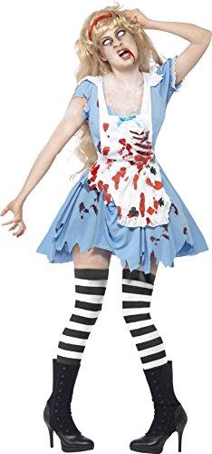 Smiffys Women's Blue/White/Red Zombie Malice Alice in Wonderland Costume - US Dress 6-8 Halloween Zombie Dark