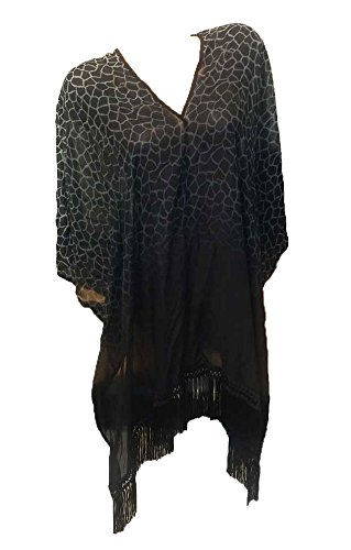 Victoria's Secret Swimwear Animal Print Black Fringe Poncho Cover-Up Medium
