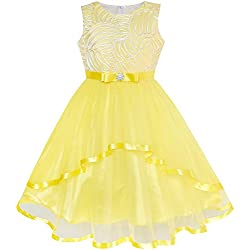 Sunny Fashion LZ67 Flower Girl Dress Yellow Belted Wedding Party Bridesmaid Size 12