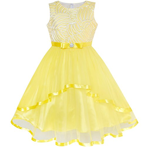 Sunny Fashion LZ63 Flower Girl Dress Yellow Belted Wedding Party Bridesmaid Size 6