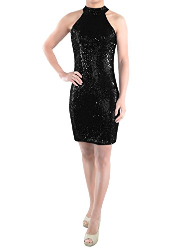 Beaded Short Dress Little Black Dress (Anna-Kaci Womens Sleeveless Sequin Shift Halter Sexy Mini Cocktail Party Dress, Black, Large)
