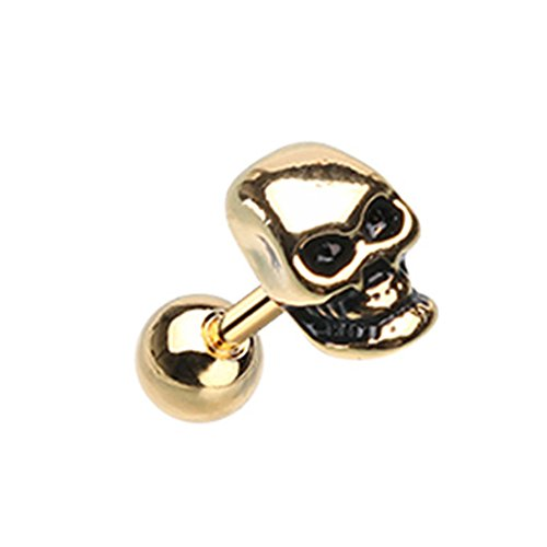 Inspiration Dezigns 18G 6mm Gold Cartilage Tragus Earring Stud Skull (Gold Skull Labret)