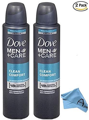 Dove Men Care Clean Comfort Spray Deodorant & Anti-Perspirant 150ML (2 Pack) (Dove Men Care Clean Comfort Antiperspirant Deodorant)