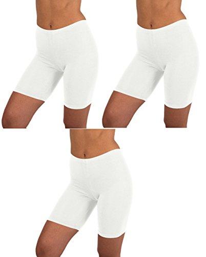 White Cotton Spandex Boyshorts (Sexy Basics Womens 3 Pack Sheer & Sexy Cotton Spandex Boyshort Yoga Bike Shorts (2XL, WHITE))