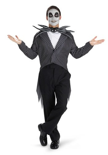 Disguise Men's Tim Burton's The Nightmare Before Christmas Jack Skellington Classic Costume, Black/White, 38-40 (Halloween Costume Nightmare Before Christmas)