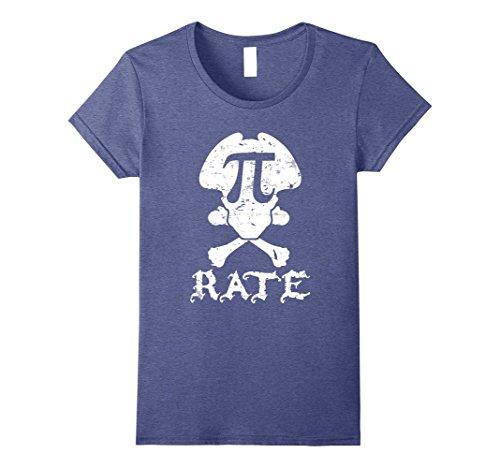 Womens Funny Pirate Math Teacher Student Math Geek T-Shirt Large Heather Blue