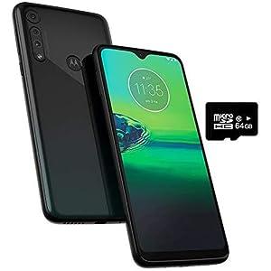 Motorola Moto G8 Play (32GB, 2GB RAM) 6.2″ HD+ Display, Dual SIM GSM Unlocked (AT&T/T-Mobile/Metro) – XT2015-2 – International Version (Obsidian Grey, 32GB + 64GB SD + Case Bundle)