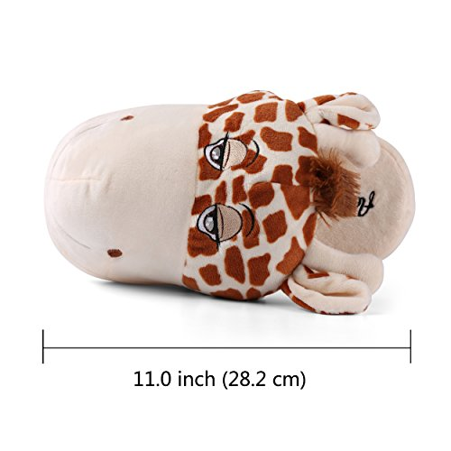 Aerusi Child Animal Plush Zapatilla Cute Fun Comfy Slip-on Soft Warm Family House Interior Dormitorio Zapatilla Jirafa