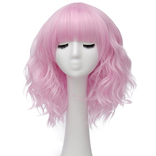 Alacos Fashion 35cm Short Curly Bob Anime Cosplay Wig Daily Party Christmas Halloween Synthetic Heat Resistant Wig for Women +Free Wig Cap (Pink-Purple Brow-Skimming Bangs)