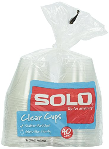 Solo Clear Plastic Cups, 9 oz, 40 ct