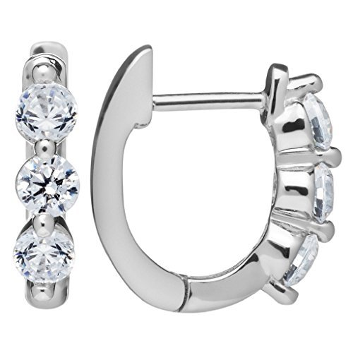 Everyday Elegance | 14K Solid White Gold Earrings | Round Cut Huggie Hoop 3-Stone Cubic Zirconia | .48 ctw | With Gift Box ()
