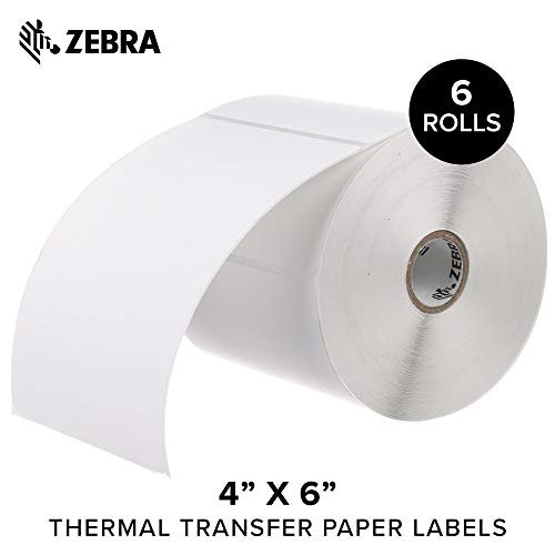 Zebra - 4 x 6 in Thermal Transfer Paper Labels, Z-Perform 2000T Permanent Adhesive Shipping Labels, Zebra Desktop Printer Compatible, 1 in Core - 6 Rolls