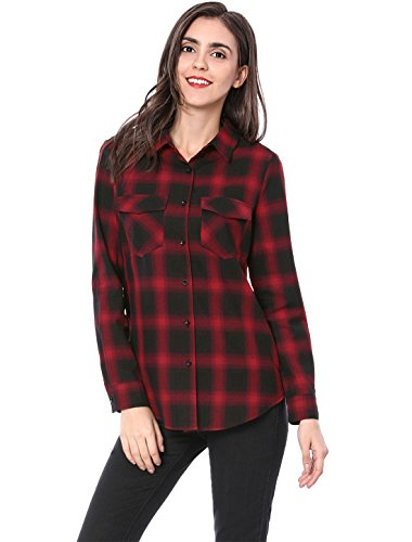 Allegra K Women's Flap Pockets Button Down Cotton Plaid Shirt M Red ()