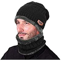 ZZLAY Winter Thick Beanie Hat Scarf Set Slouchy Warm Snow Knit Skull Cap