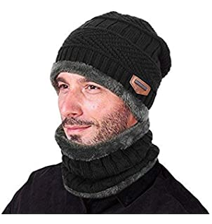 7a13175daa0 ZZLAY Winter Thick Beanie Hat Scarf Set Slouchy Warm Snow Knit Skull Cap