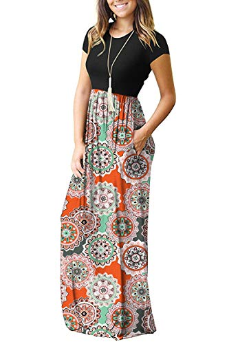AUSELILY Women's Round Neck Short Sleeve Maxi Dresses Casual Long Dresses with Pockets(XL,Round Floral Orange)