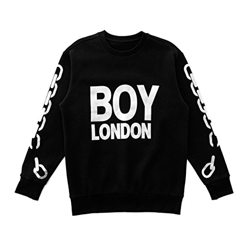 BOY London Unisex (S,M,L,XL) Silver Chain Printed On Sleeves Sweatshirt-Black-Gold,Black-Silver New_(BG4TL021) (Black-Silver, XLarge) by BOY London