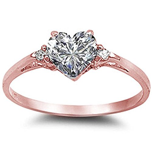 Sterling Silver Heart Promise Ring Sizes 3-12 (All Colors Available) (Rose Gold Plated Sterling Silver, 7)