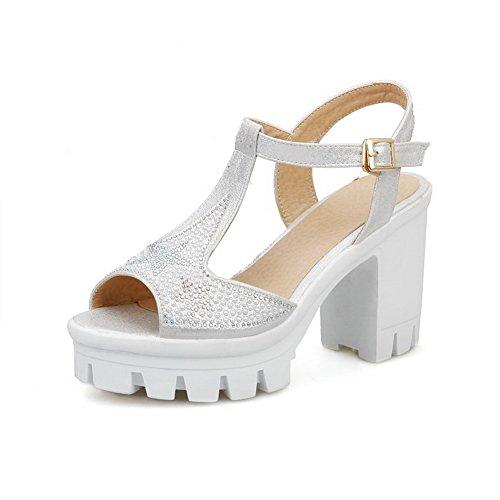 AgooLar Women's High Heels Soft Material Solid Buckle Open Toe Sandals Silver