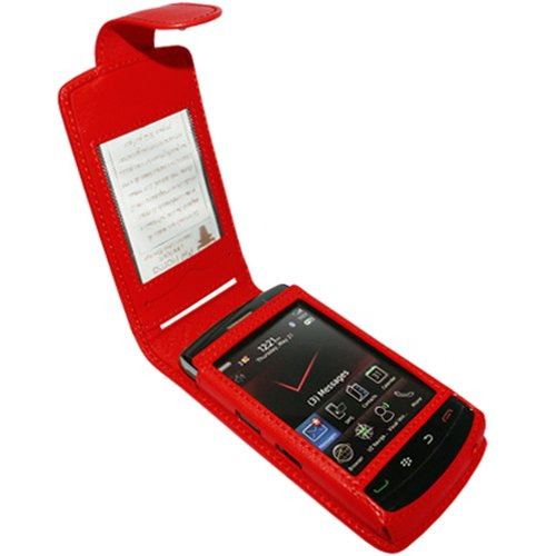 Piel Frama Wallet Case for Blackberry Storm2 9520 / 9550 - Red 9550 Snap