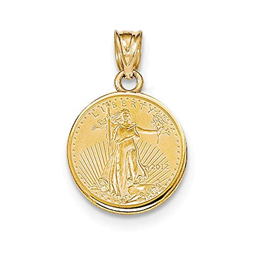 14K Yellow Gold Prong Bezel 1/10th oz. American Eagle Coin Holder (Coin Not Included) ()