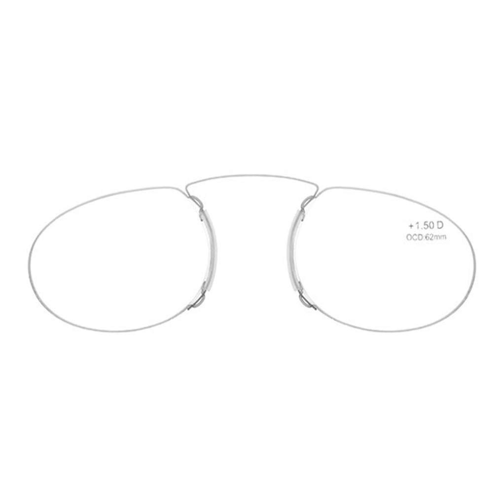Pince Nez Style Men and Women Clamp Nose Resting Pinching Reading Glasses