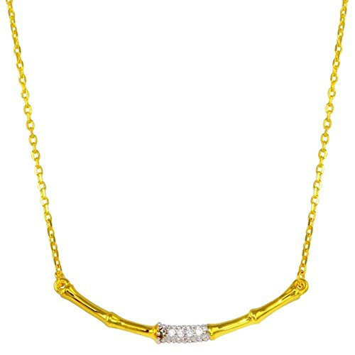 CloseoutWarehouse Clear Cubic Zirconia Bamboo Necklace Gold Tone Plated Sterling Silver