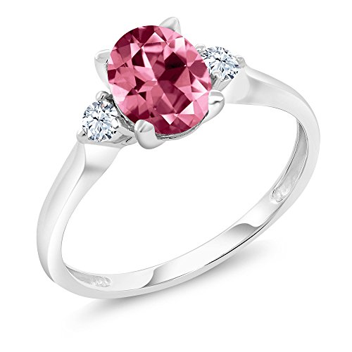 10K White Gold Ring Created Sapphire Set with Oval Pink Topaz from Swarovski (Size 7)