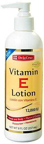 De La Cruz Vitamin E Lotion 12,000 IU 8 FL. OZ. / Allergy Tested & Made in USA